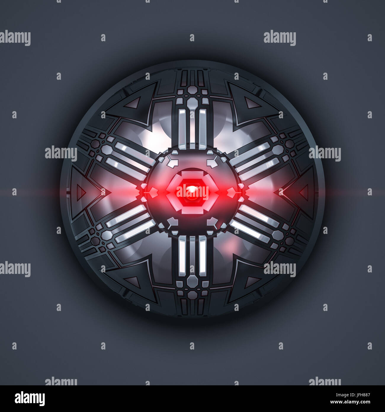 a robot eye with red light beam Stock Photo