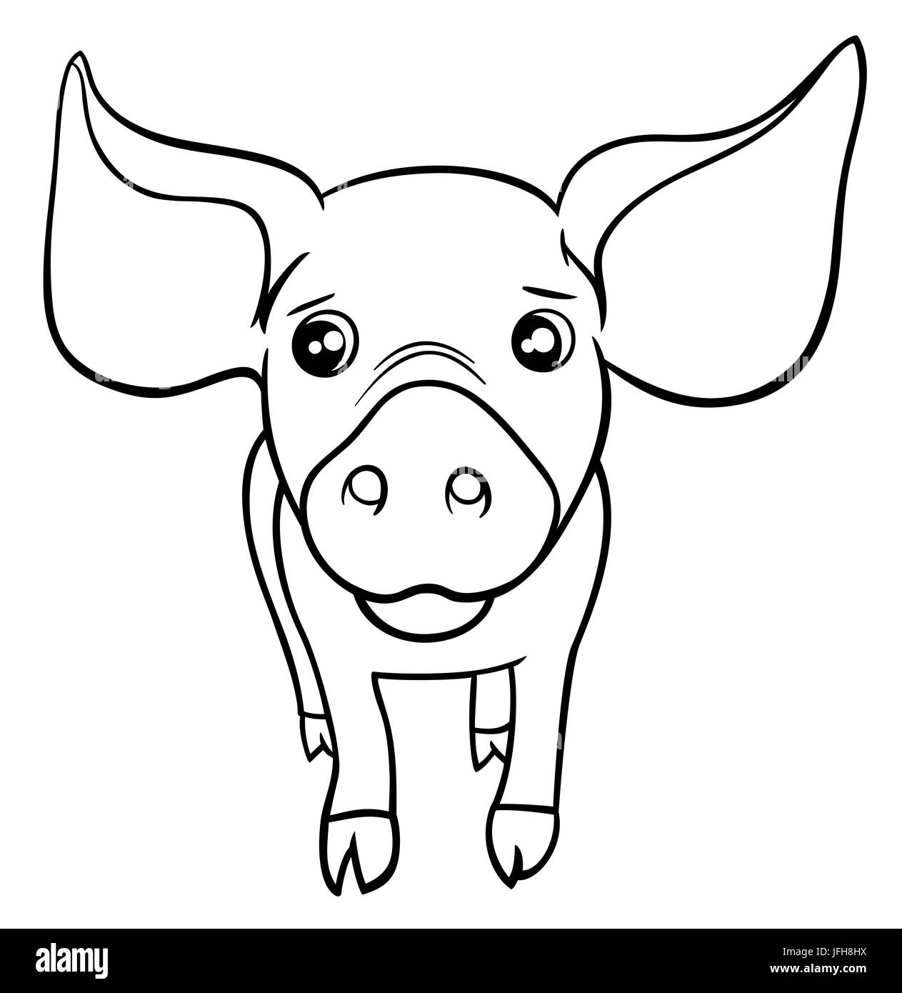 Pig Or Piglet Coloring Page Stock Photo 147282742 Alamy