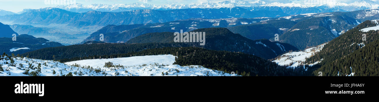 Beautiful winter mountain panorama (Rittner or Ritten Horn, Italy) - Stock Image