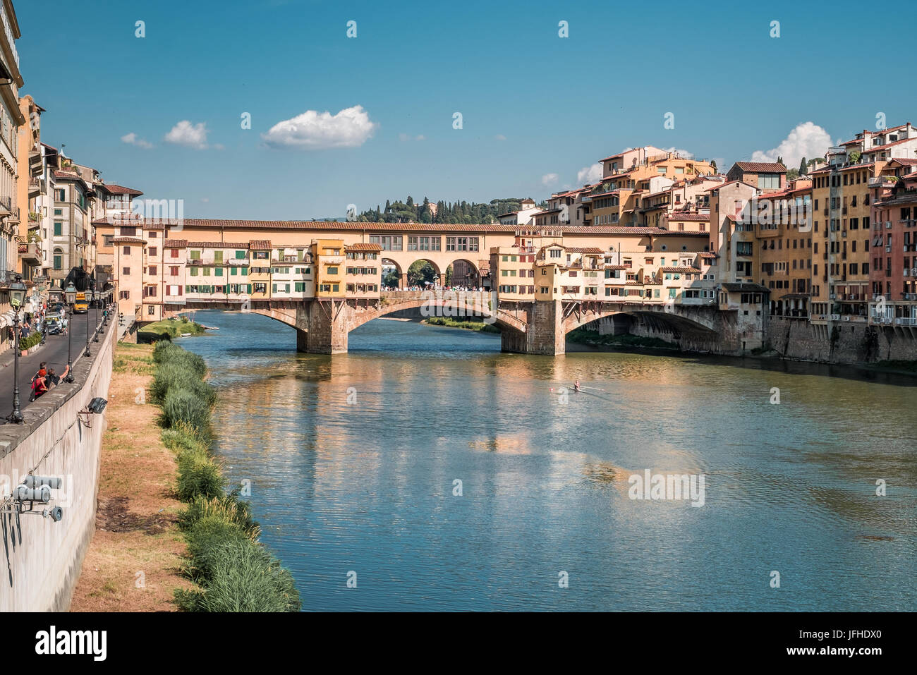 The east side of Ponte Vecchio (old bridge) in Florece Italy - Stock Image