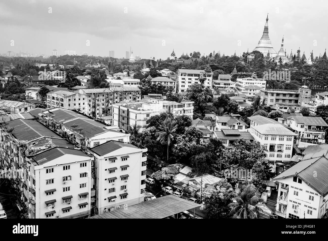 Shwedagon golden pagoda from the high in Yangon / Ragoon City Myanmar - travel photo - myanmar culture - Stock Image