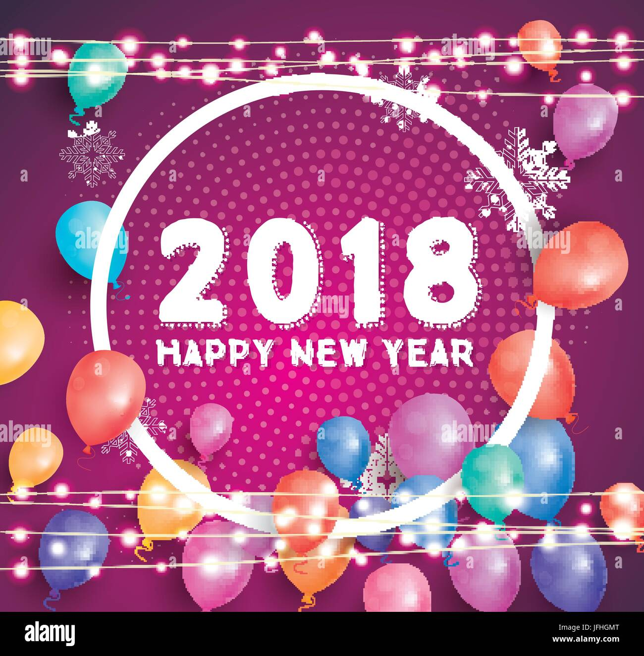 happy new year 2018 greeting card with flying balloons white frame and neon garlands vector illustration
