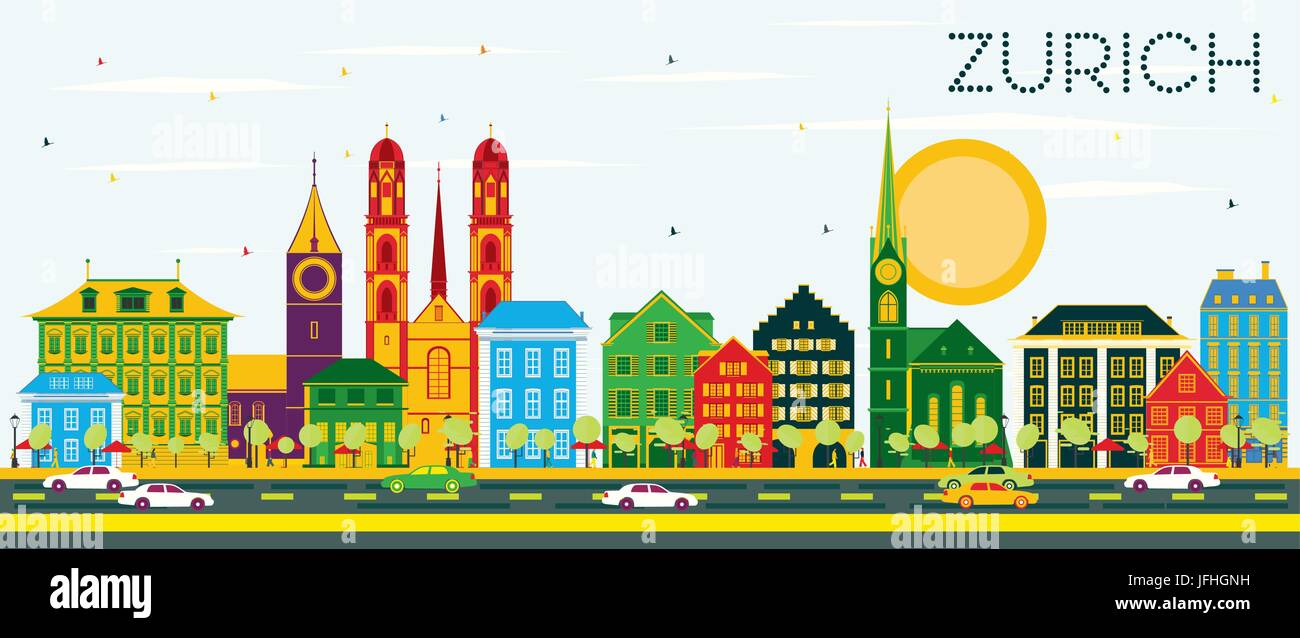 Zurich Skyline with Color Buildings and Blue Sky. Vector Illustration. Business Travel and Tourism Concept with - Stock Vector