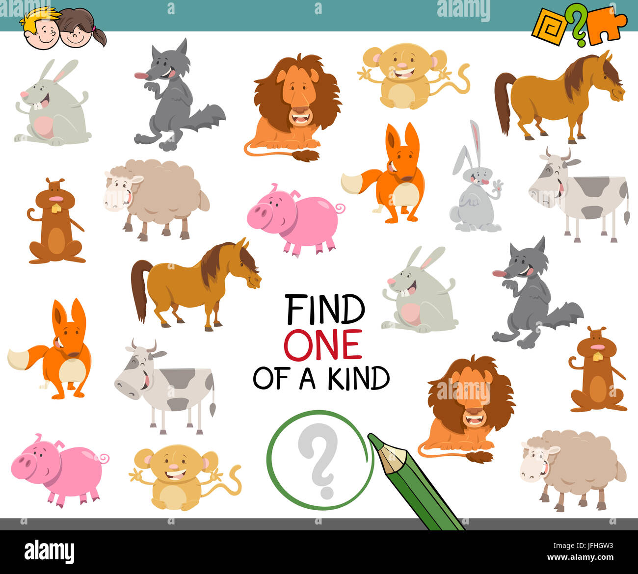 one of a kind with animals Stock Photo