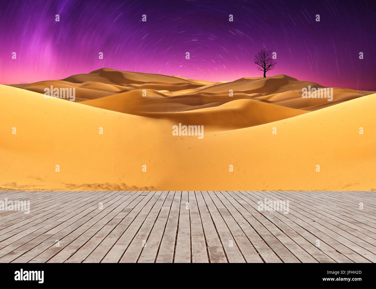 Wood plank in sahara - Stock Image