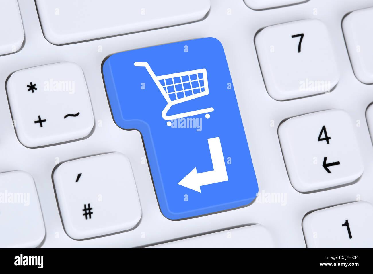 Online Shopping E-Commerce bestellen und einkaufen im Internet - Stock Image