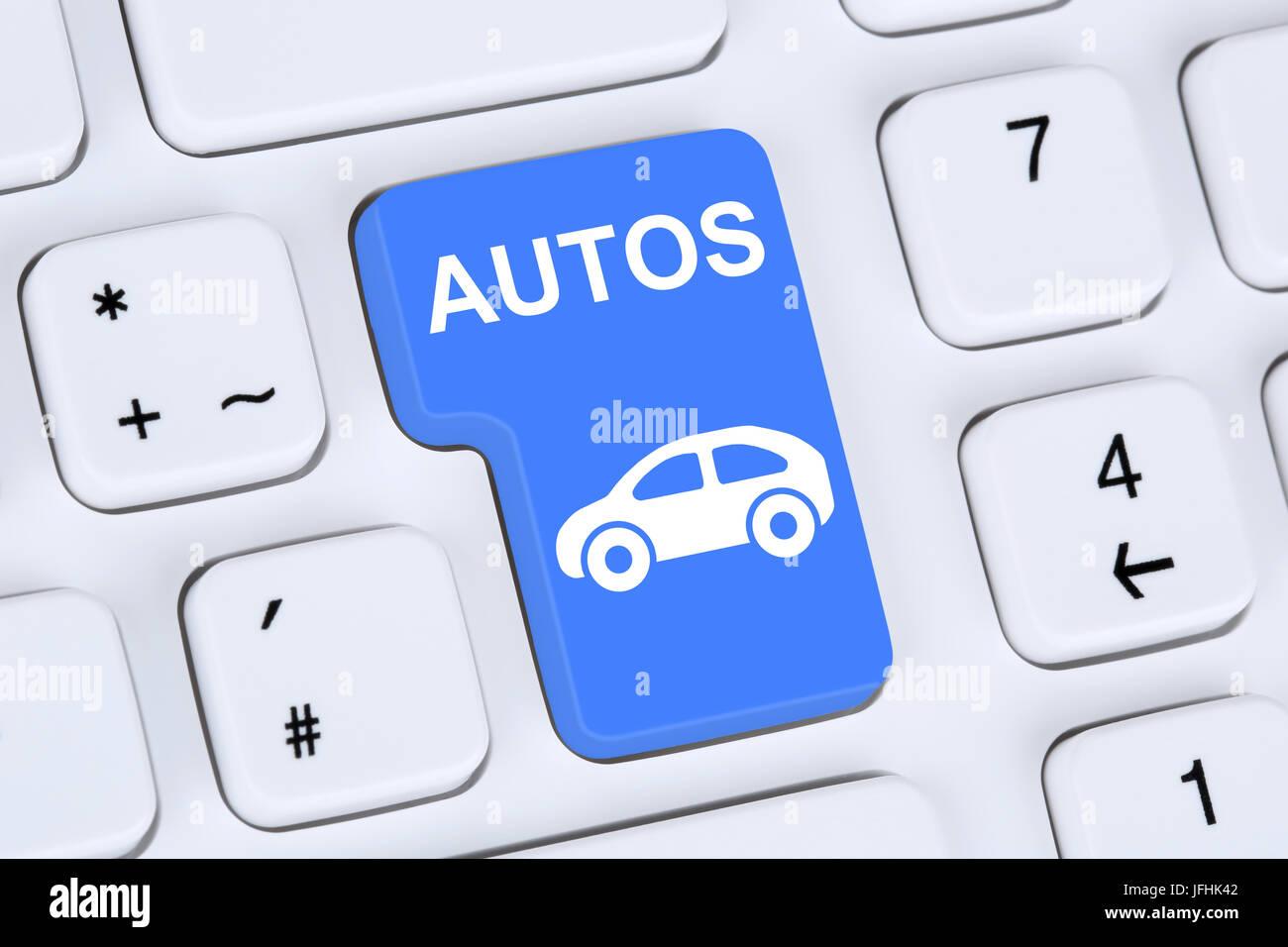 Auto oder Fahrzeug kaufen und verkaufen online auf Computer - Stock Image
