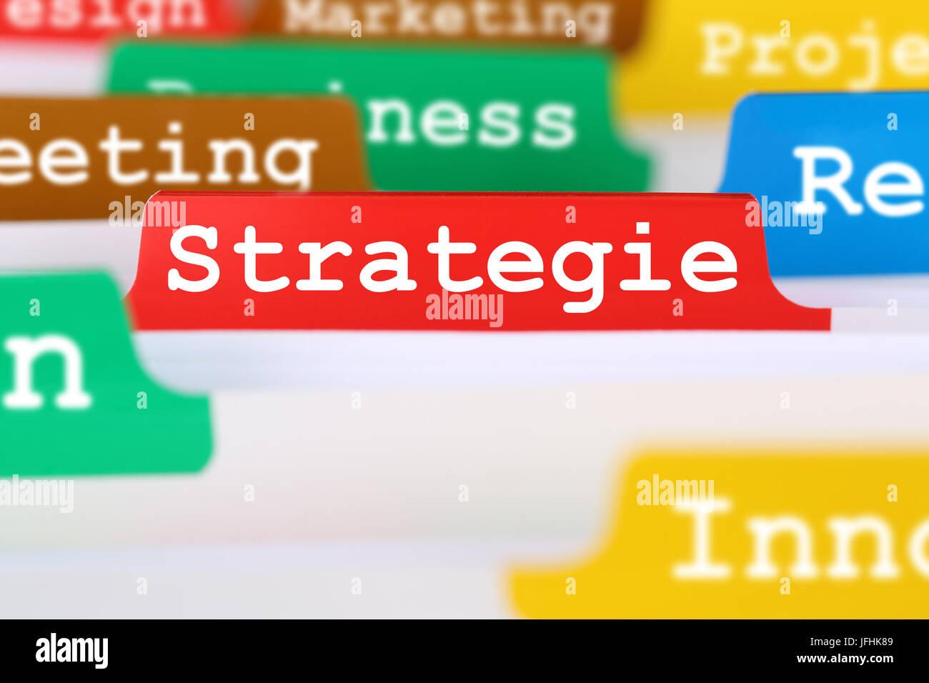 Strategie und Entwicklung einer Firma Register auf Business Dokumente - Stock Image