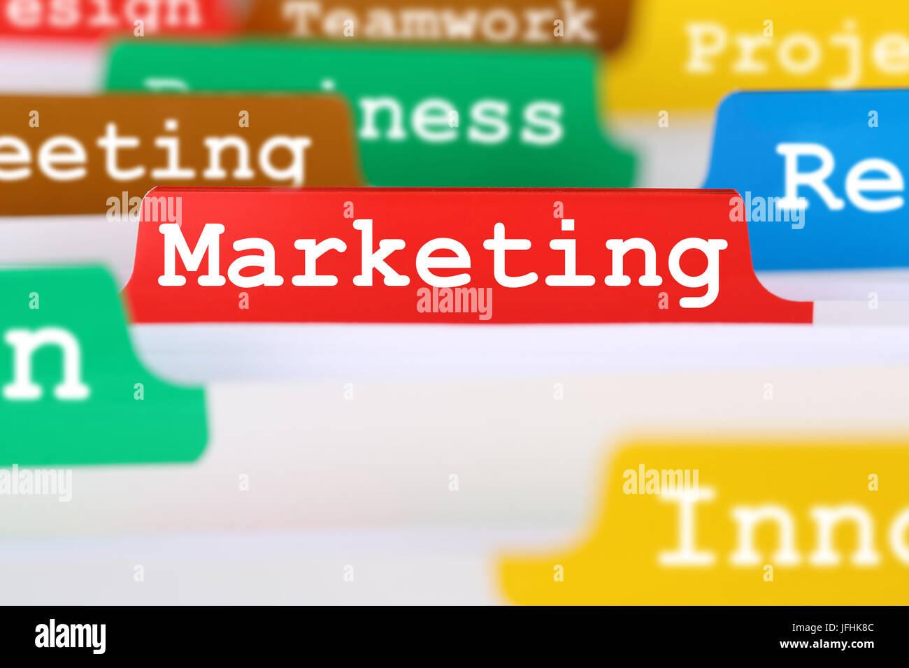 Marketing oder Werbung für Firma im Büro Register auf Business Dokumente - Stock Image