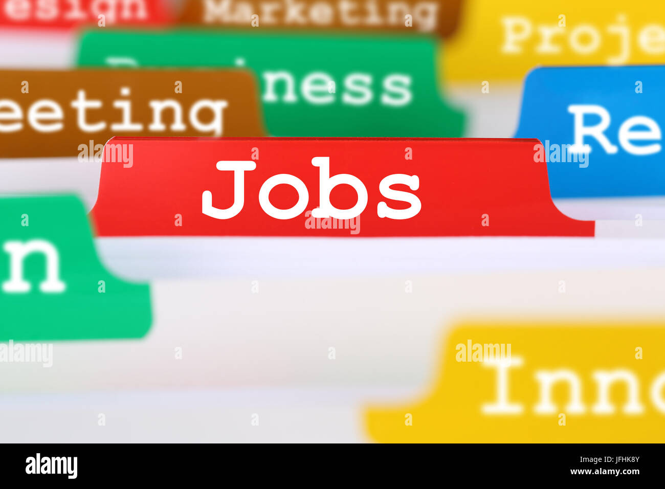 Jobs, Arbeit und Stelle Suche Text im Register auf Business Dokumente - Stock Image