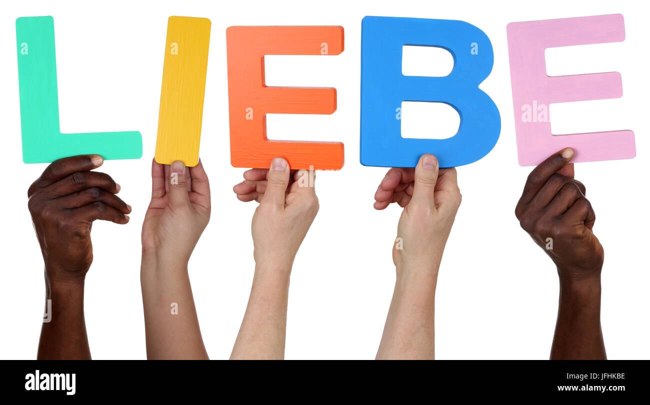 Multikulturell People Gruppe halten das Wort Liebe - Stock Image