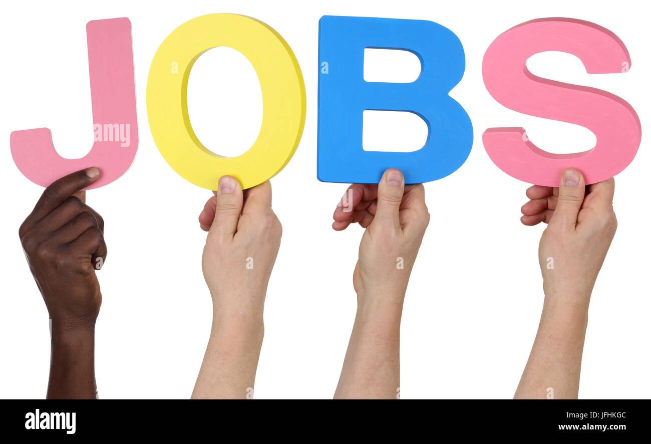 Multikulturell People Gruppe halten das Wort Jobs - Stock Image