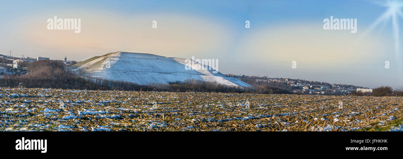 Panorama Velbert, commercial landscape Röbbeck and landfill Plöger quarry. - Stock Image