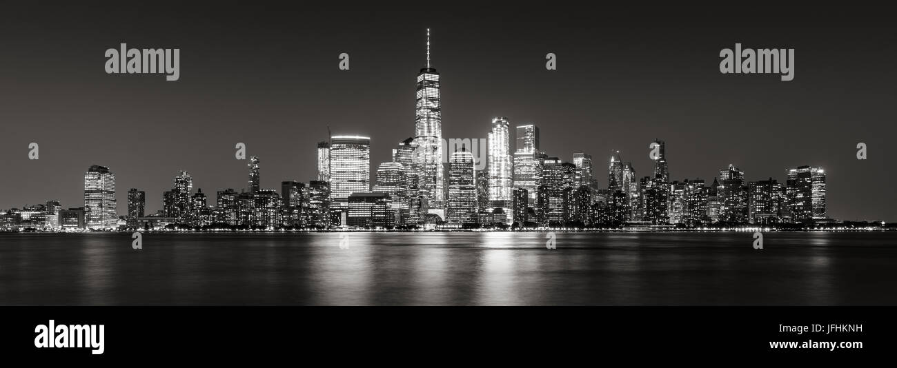 Black and White panoramic view of New York City Financial District skyscrapers. Panoramic view of Lower Manhattan - Stock Image