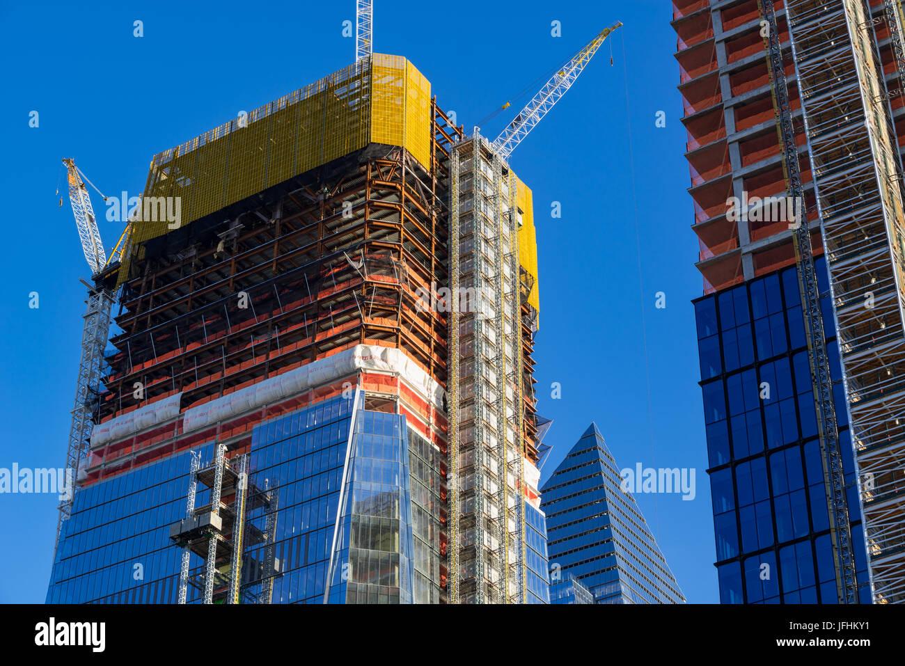The 30 Hudson Yards skyscraper construction site (2017). Midtown, Manhattan, New York City - Stock Image