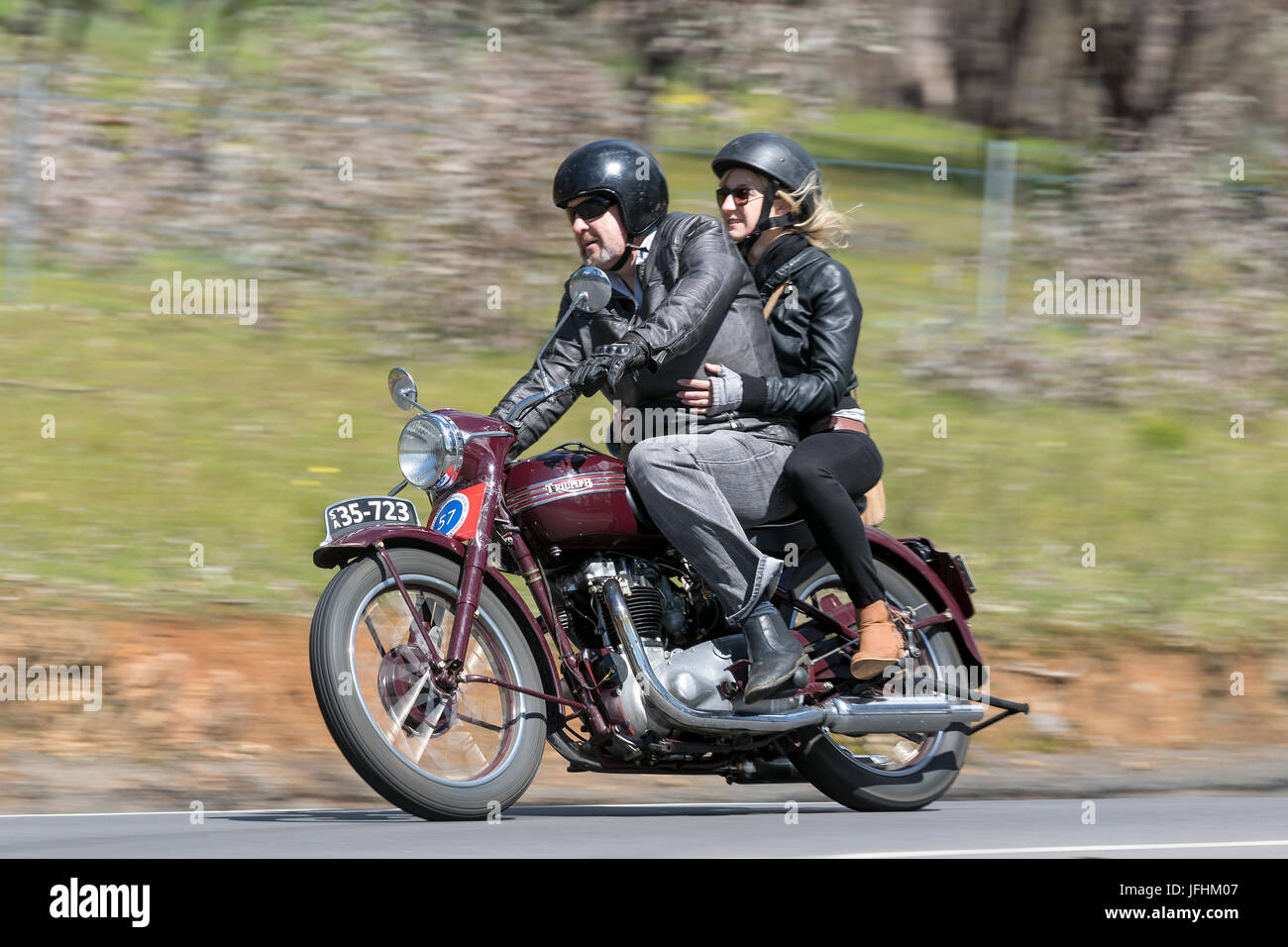 Vintage 1951 Triumph Speed Twin Motorcycle On Country Roads Near The Stock Photo Alamy