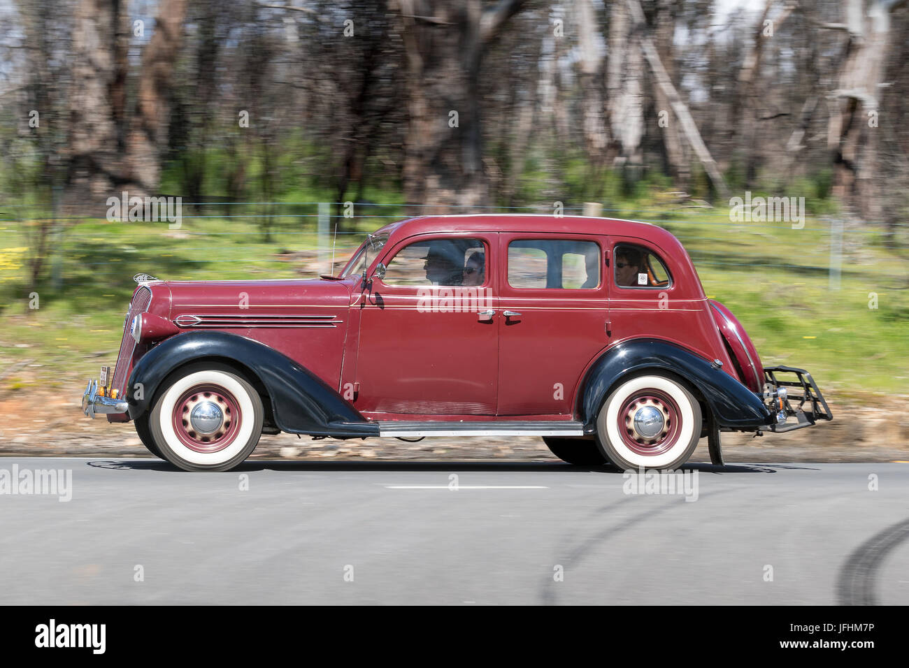 Plymouth Sedan Stock Photos Images Alamy 1948 Business Coupe Vintage 1936 Driving On Country Roads Near The Town Of Birdwood South