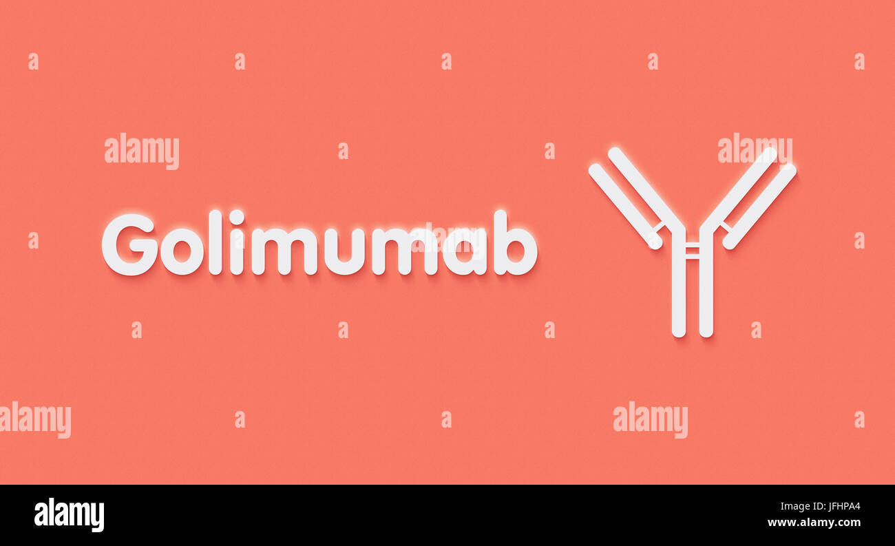 Golimumab monoclonal antibody drug. Targets TNF-alpha. Indications for use include rheumatoid arthritis, psoriatic - Stock Image
