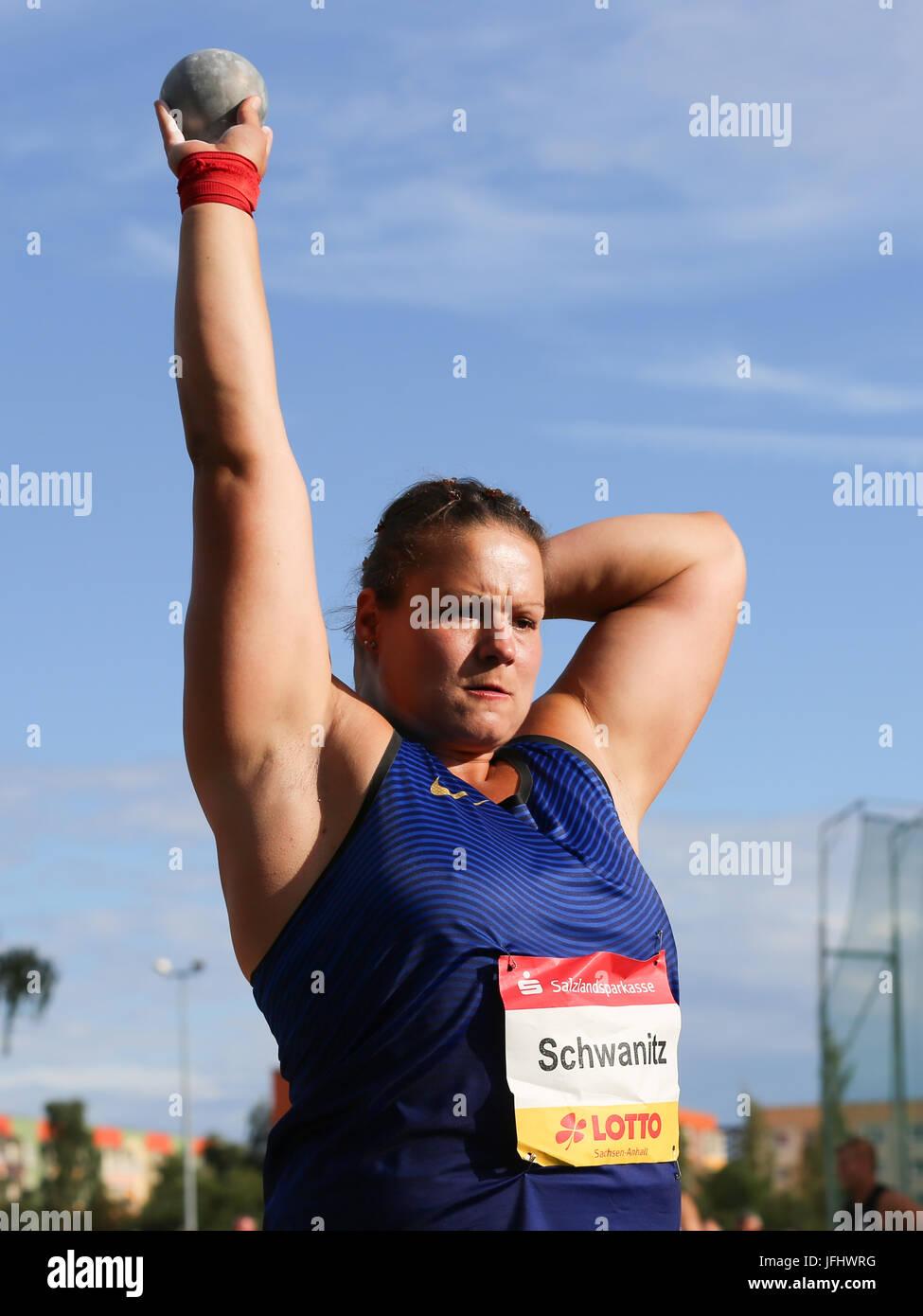German shot putter Christina Schwanitz (Germany,LV 90 Erzgebirge) - Stock Image