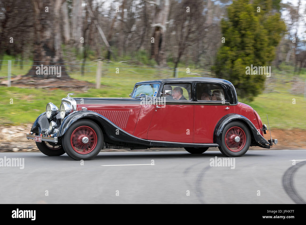 Vintage 1935 Bentley Derby 3.5L Saloon driving on country roads near the town of Birdwood, South Australia. - Stock Image
