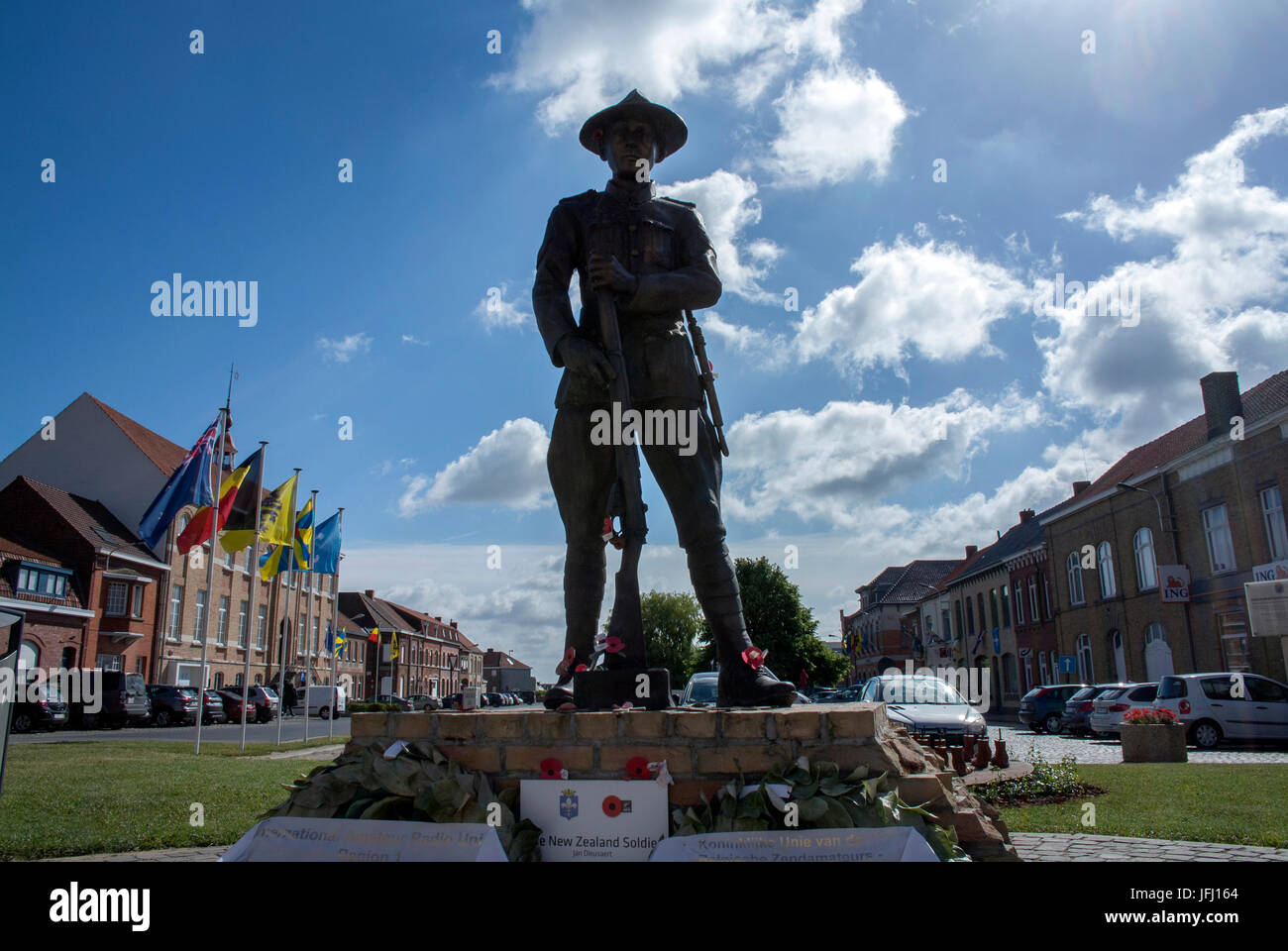 The statue of the New Zealand soldier in the centre of town, is a memorial to all the soldiers of the New Zealand - Stock Image