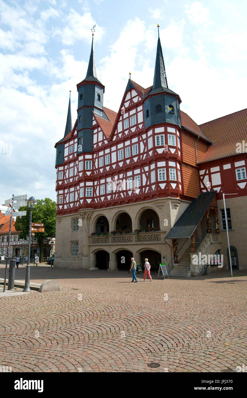 Germany, Lower Saxony, Duderstadt, market, city hall from 14./15. Jhd., half-timbered, - Stock Image