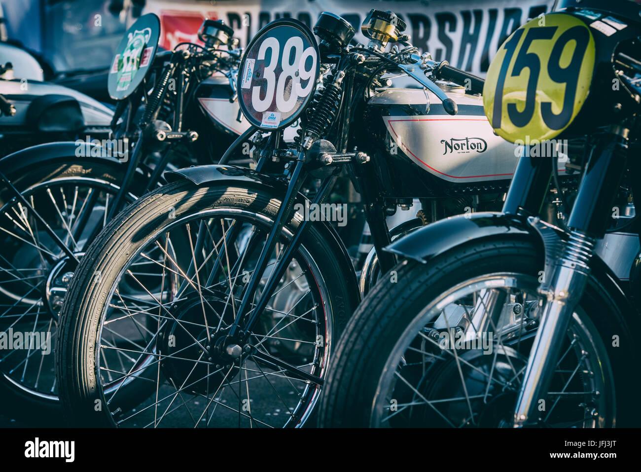 Vintage pre war Norton motorcycles. Classic british motorcycle. Applied retro filter - Stock Image