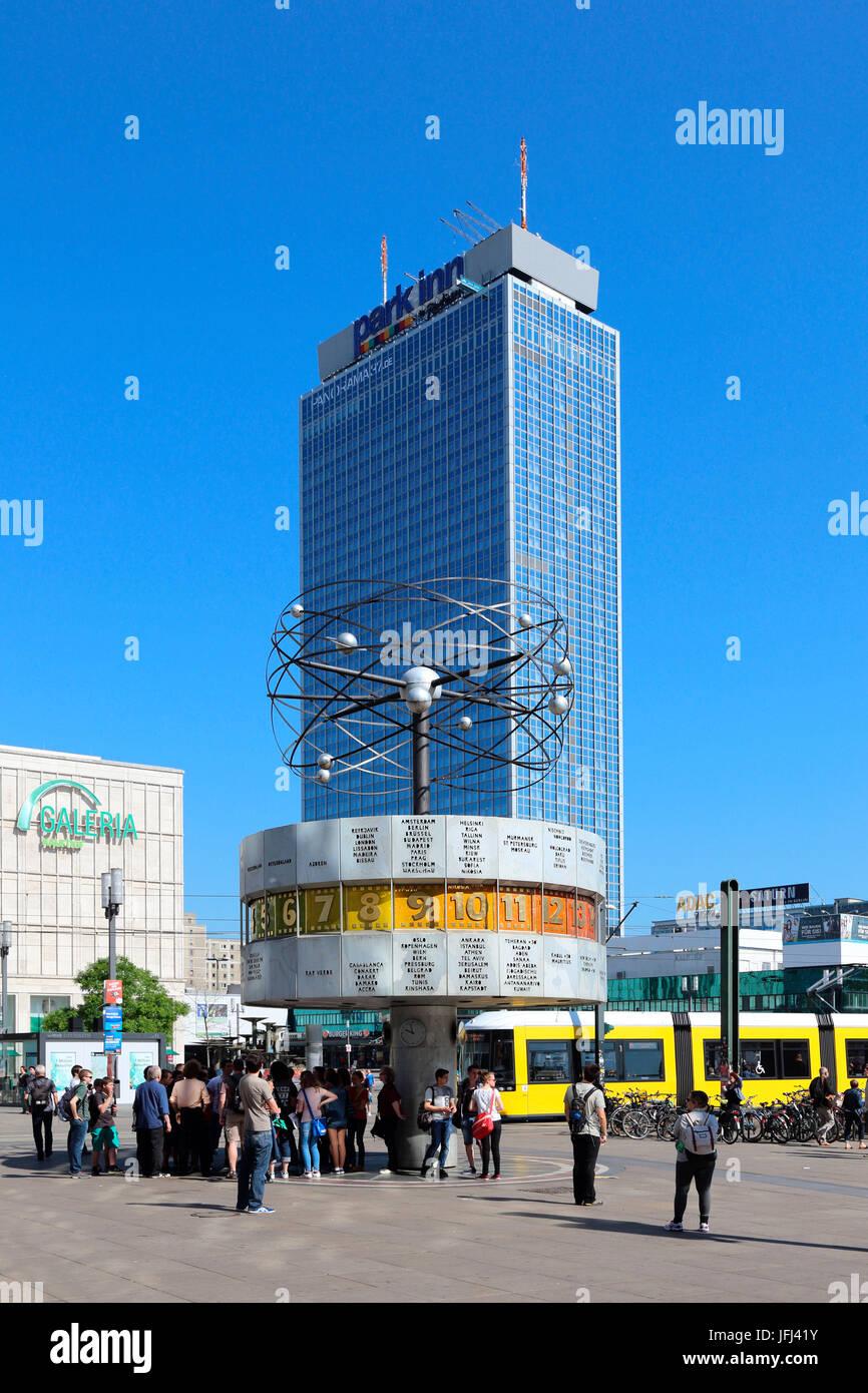 Berlin park Inn hotel world time clock Stock Photo