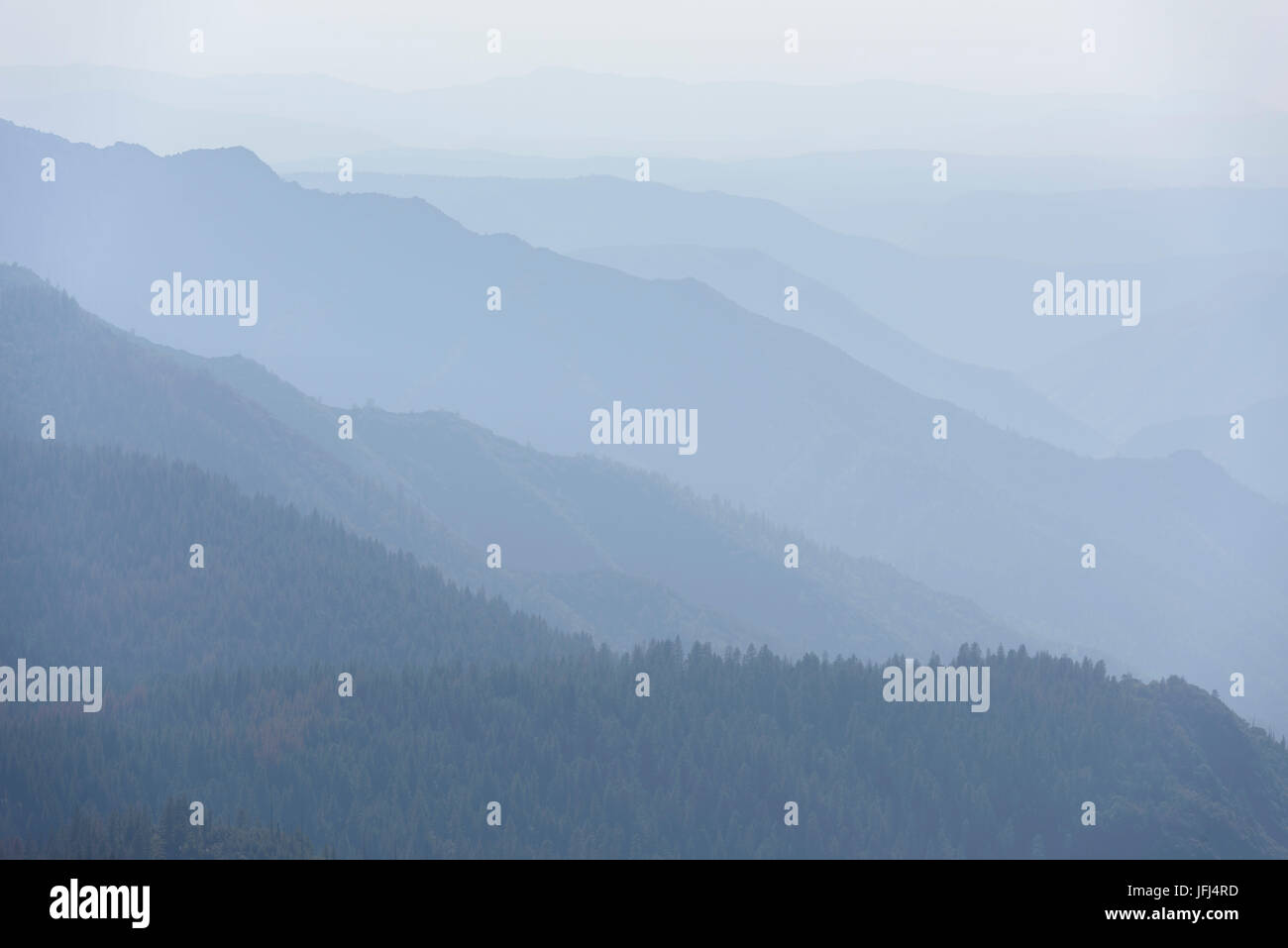 Hazy view about the Yosemite valley, the USA, California Stock Photo