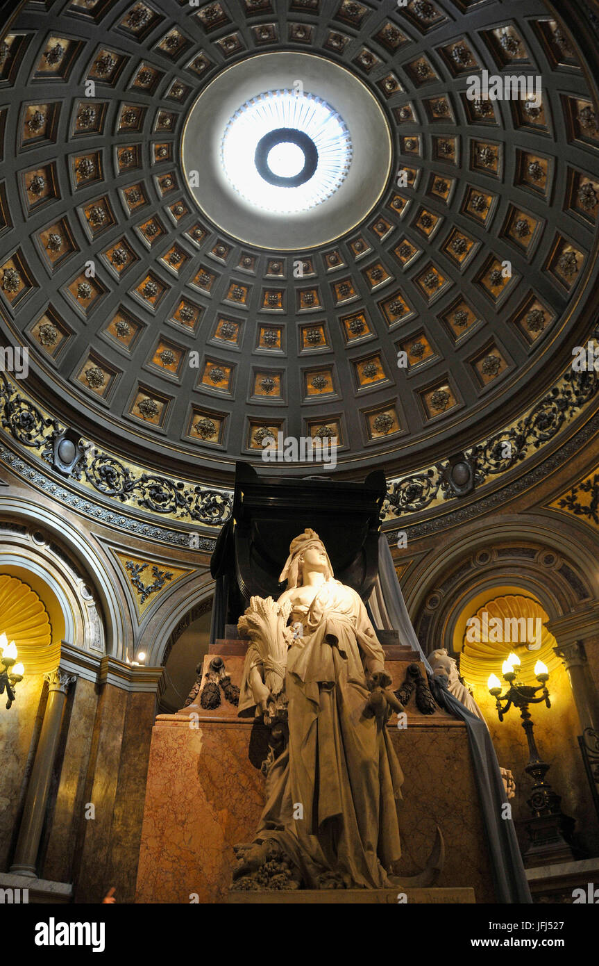 South America, Argentina, Buenos Aires, cathedral, inside, tomb of general San Martin - Stock Image
