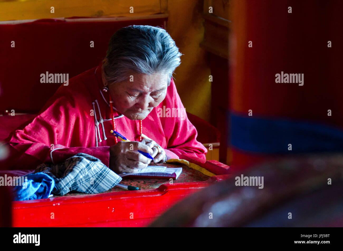 Mongolia, Central Asia, steppe scenery of Khogno Khan, cloister ruin Ovgon Hiid, old woman Stock Photo