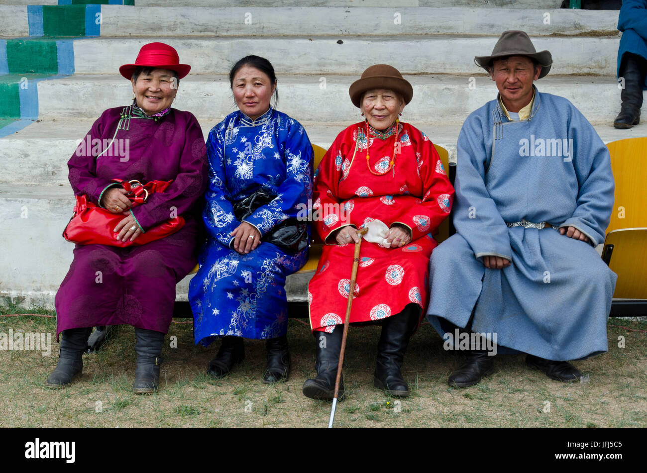 Mongolia, Central Asia, Sayhan, Naadam feast, national feast of Mongolia, sports stadium, wrestling match, spectator - Stock Image