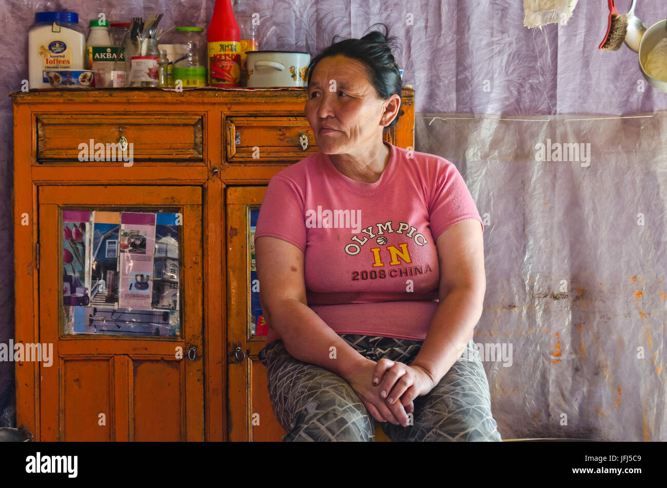 Mongolia, Central Asia, bike tour Tamir - Tsetserleg, stage 5, nomad, yurt, inside, woman - Stock Image