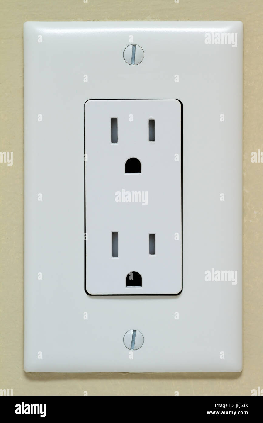 Household Electrical Outlet on wall. Power 110v Stock Photo ...