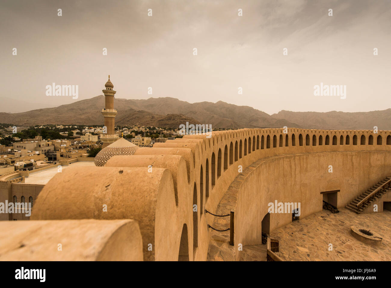 Arabia, Arabian peninsula, Sultanate of Oman, Nizwa, fort - Stock Image