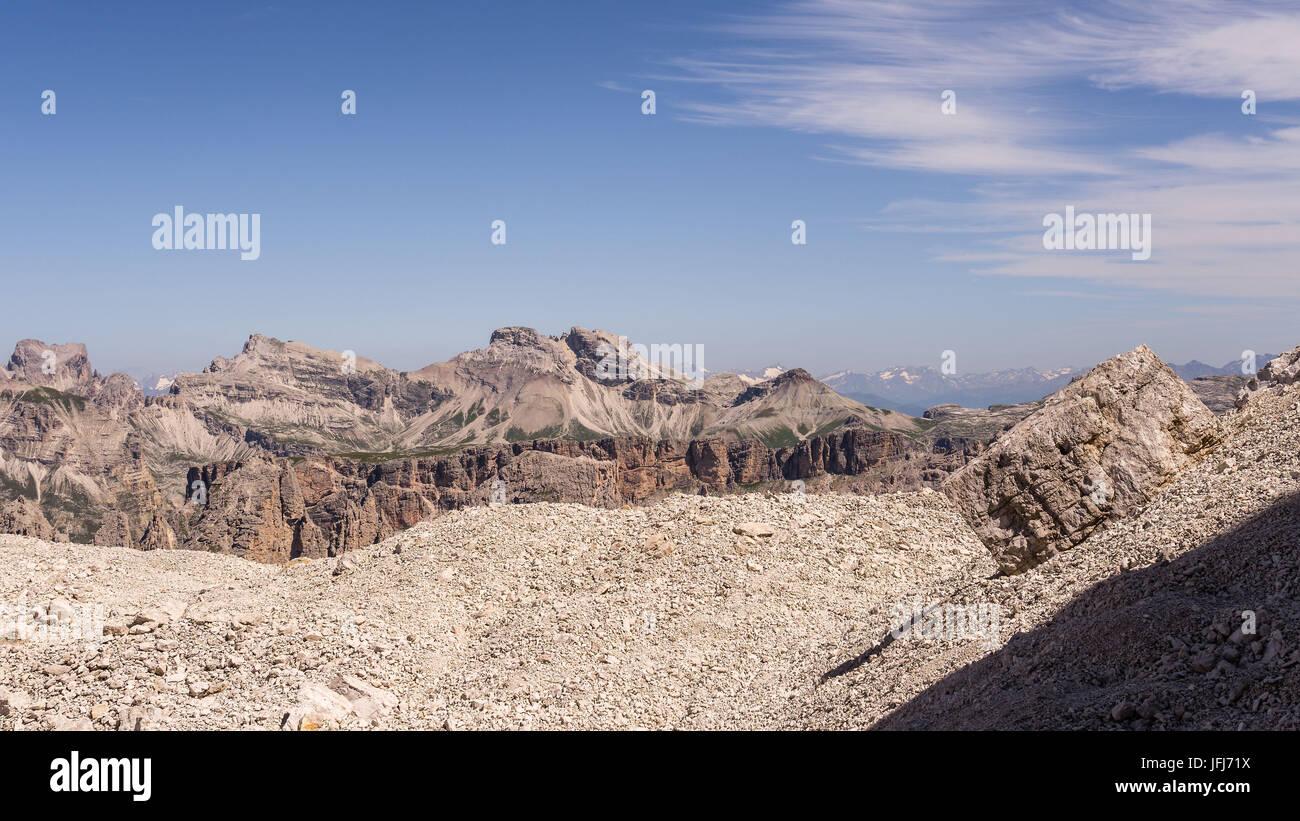 Rock scenery in the Pisciadu via ferrata, dolomites, Sella group, Alta Badia, South Tirol, Italy Stock Photo