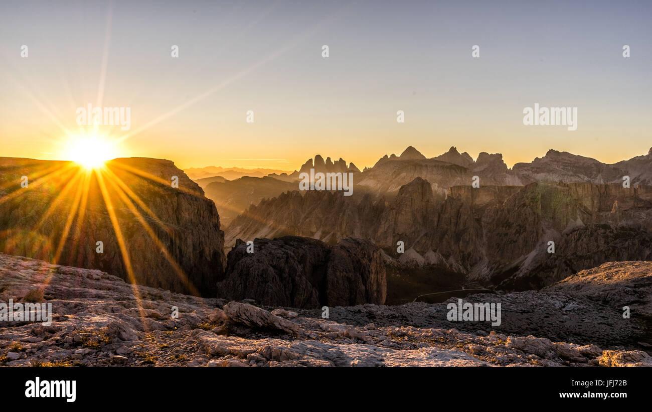 Mountain landscape in the Pisciadu via ferrata at sundown, dolomites, Sella group, Alta Badia, South Tirol, Italy Stock Photo