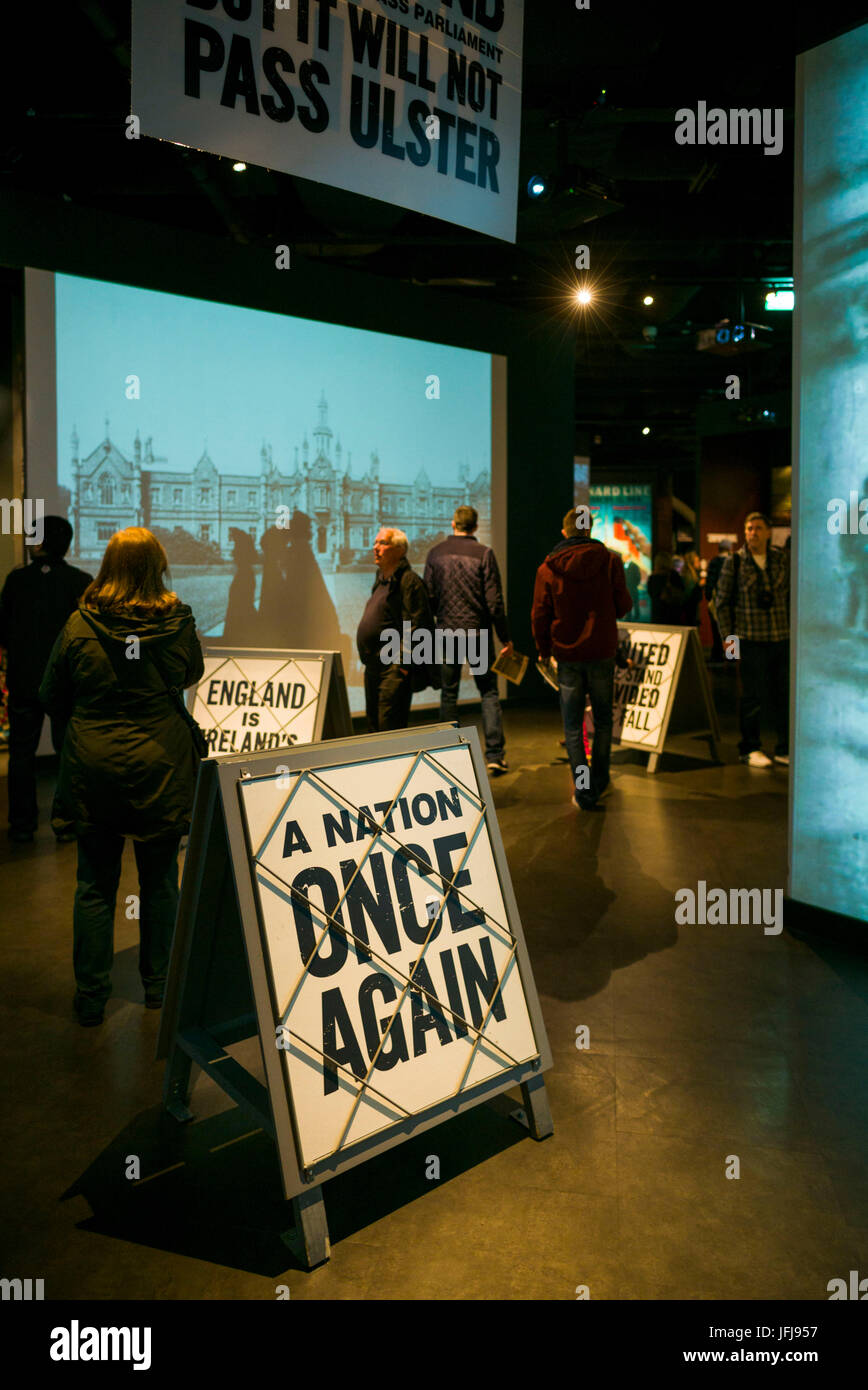 UK, Northern Ireland, Belfast, Belfast Docklands, Titanic Belfast Museum, interior - Stock Image