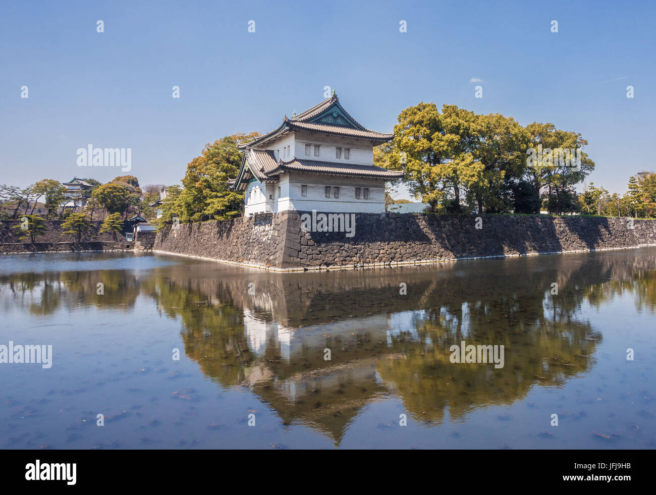 Japan, Tokyo City, Imperial Palace walls, near Otemachi area, - Stock Image