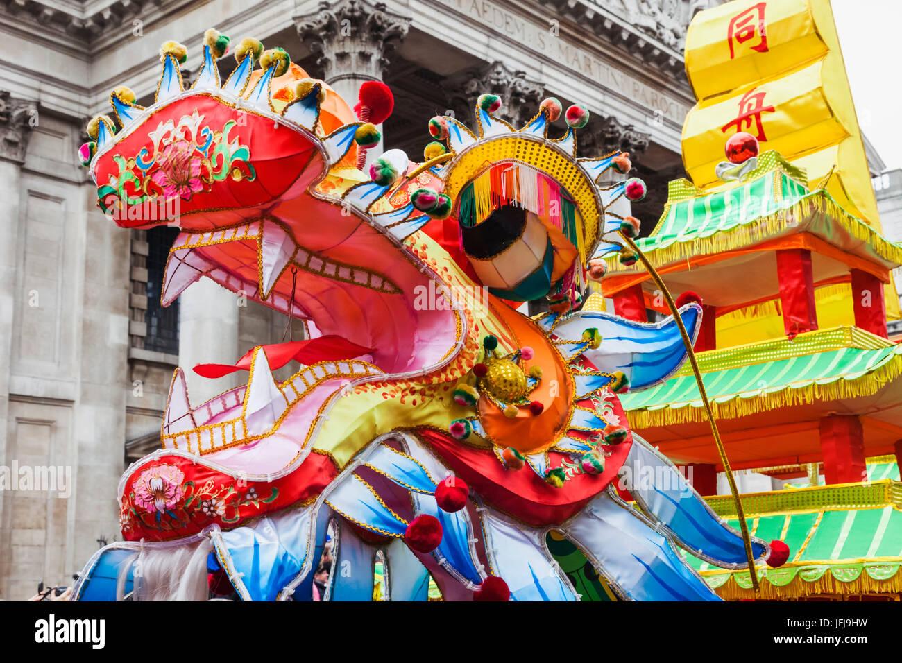 England, London, Chinese New Year Parade, Chinese Dragon - Stock Image