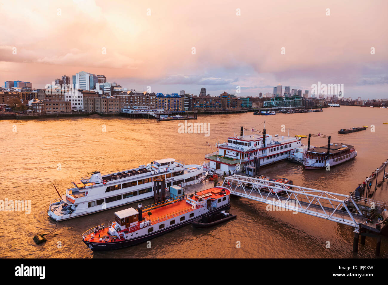 England, London, River Thames and Docklands Skyline - Stock Image