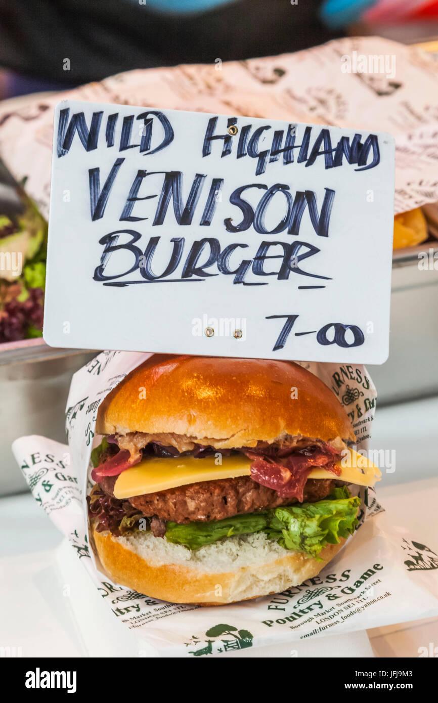 England, London, Southwark, Borough Market, Food Stall Display of Venison Burger - Stock Image