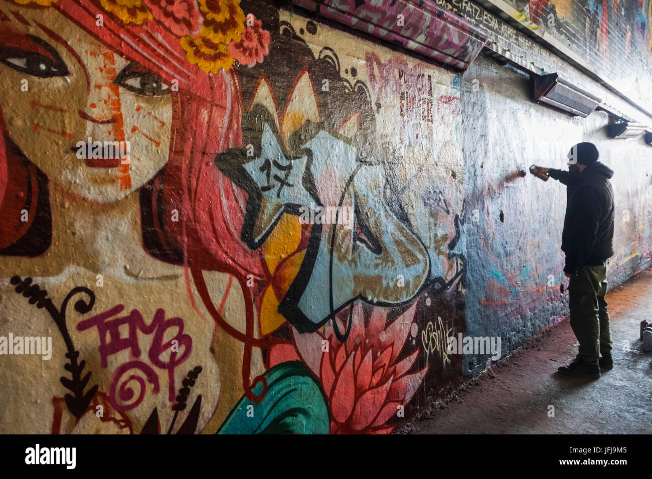 England London Lambeth Waterloo Leake Street Graffiti and Wall Art Tunnel Graffiti Artist at Work & England London Lambeth Waterloo Leake Street Graffiti and Wall ...