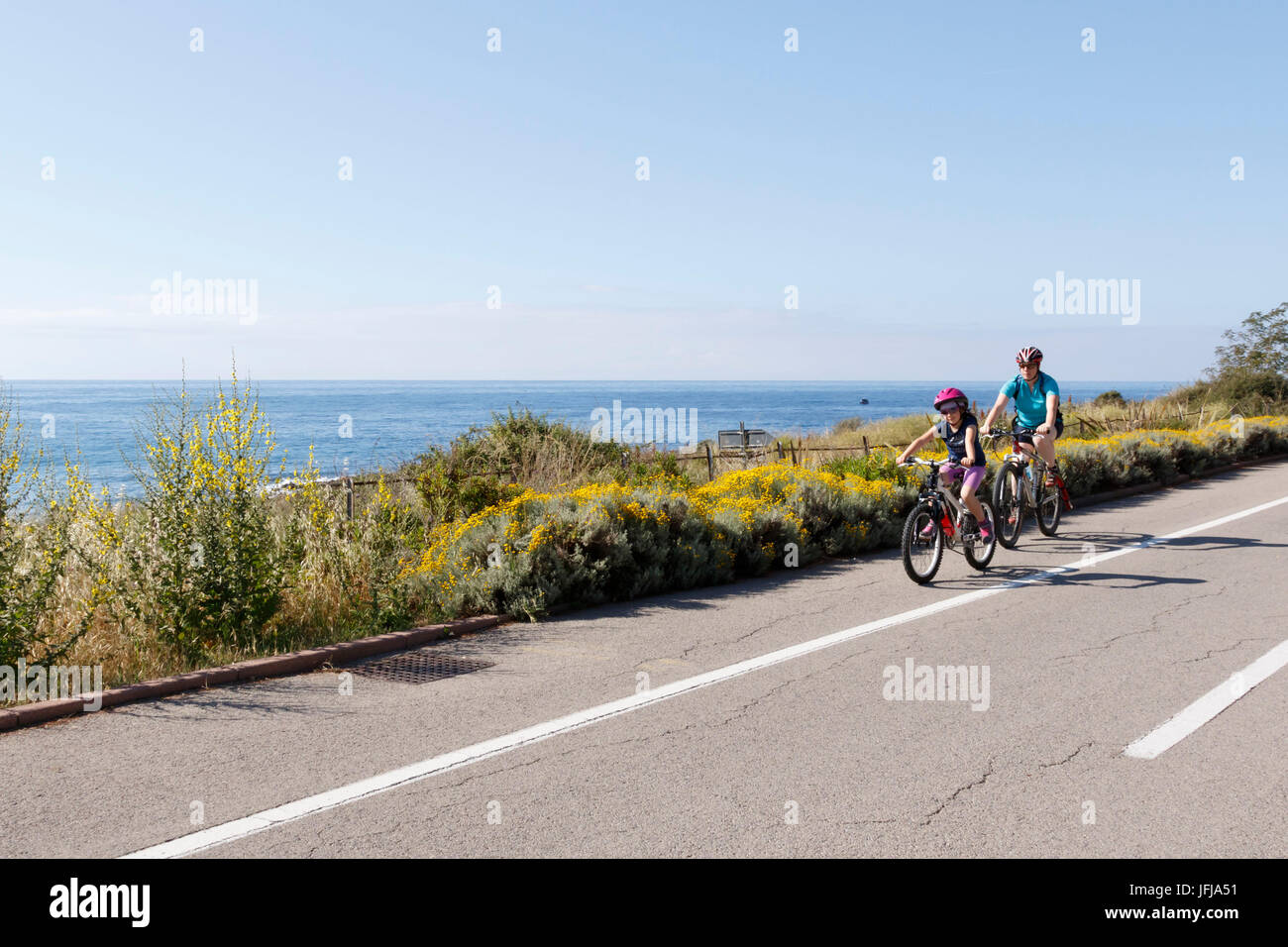 Liguria, Italy, Cycling Riviera cycleway - Stock Image