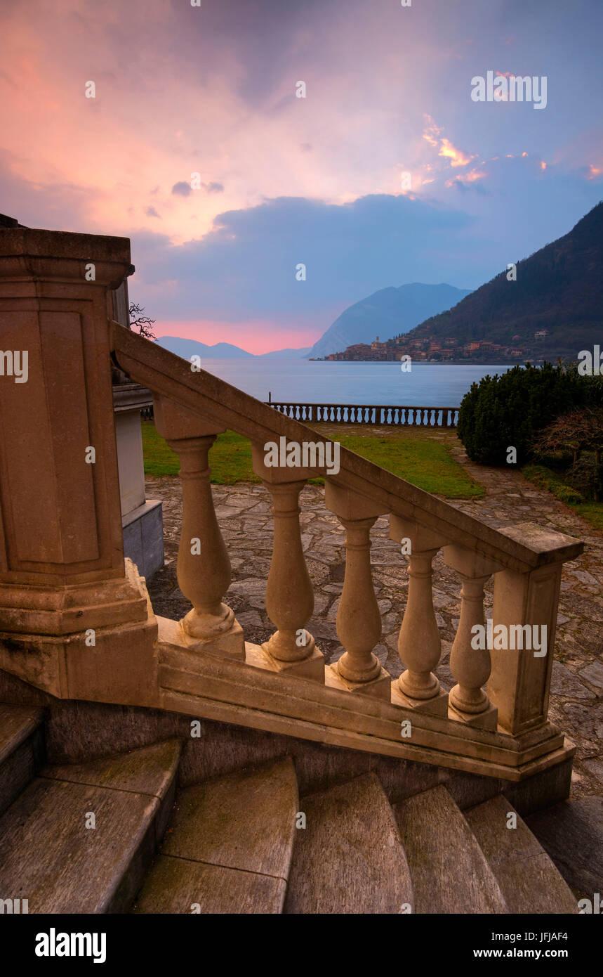 Peschiera Maraglio, view from Sulzano, Montisola, province of Brescia, Italy, - Stock Image