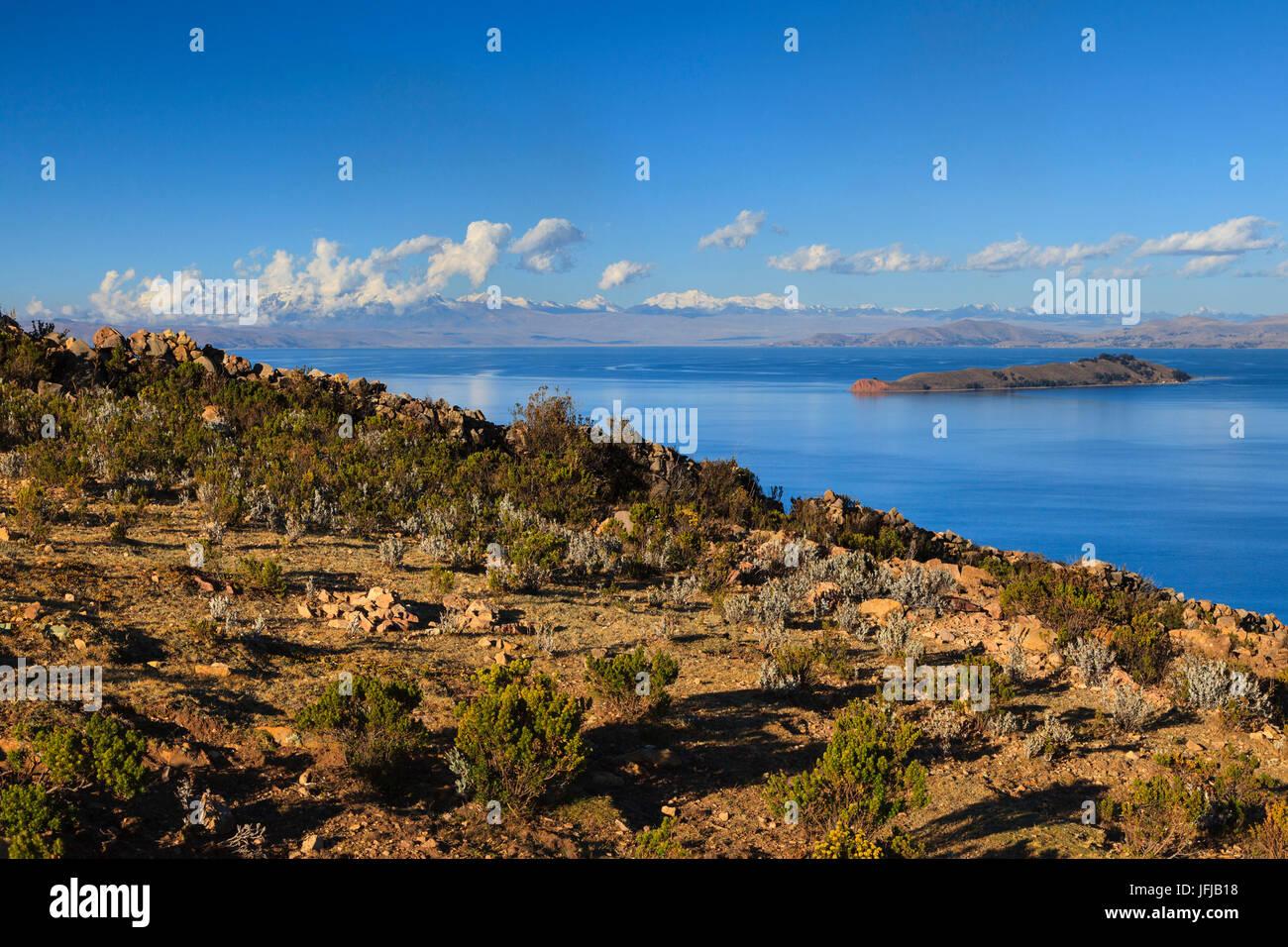 Isla del Sol on the Bolivian Side of Lake Titicaca, La Paz province, Bolivia - Stock Image