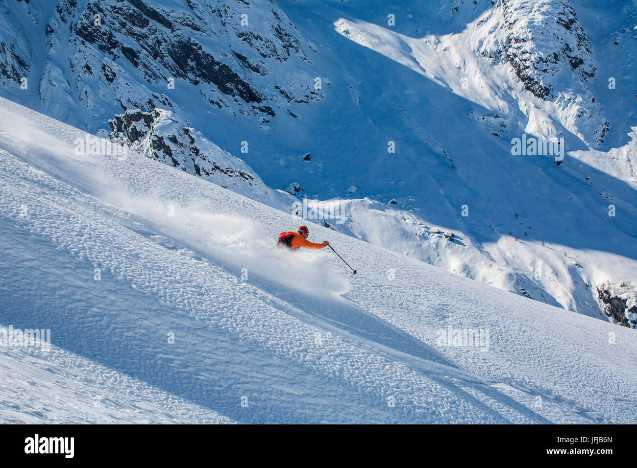 Orobie alps, freeride in Arigna valley, Lombardy, italy - Stock Image
