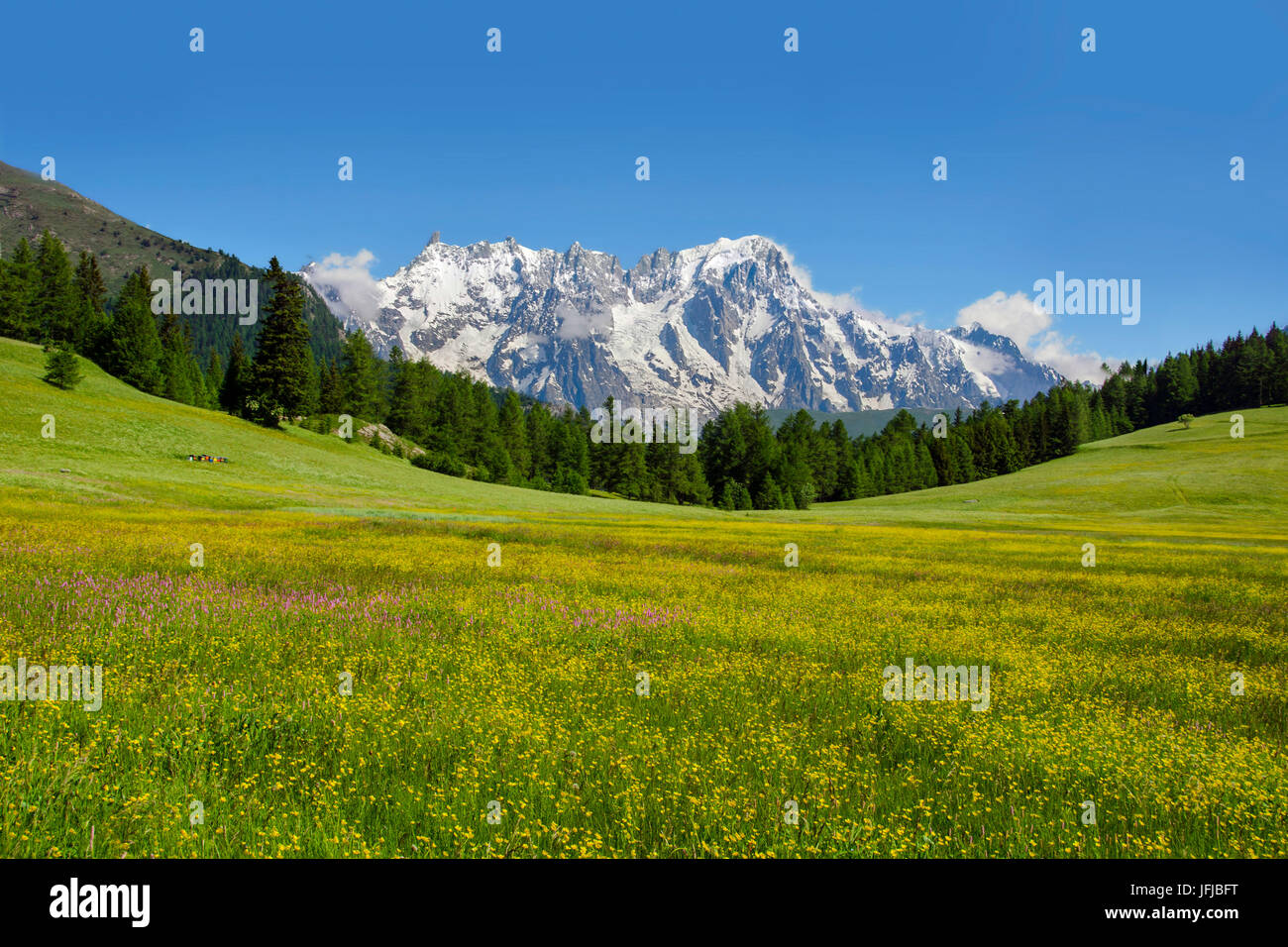 Mont Blanc (Monte Bianco) from Petosan, between San Carlo Pass and la Thuile, Aosta Valley, Italy, Europe - Stock Image