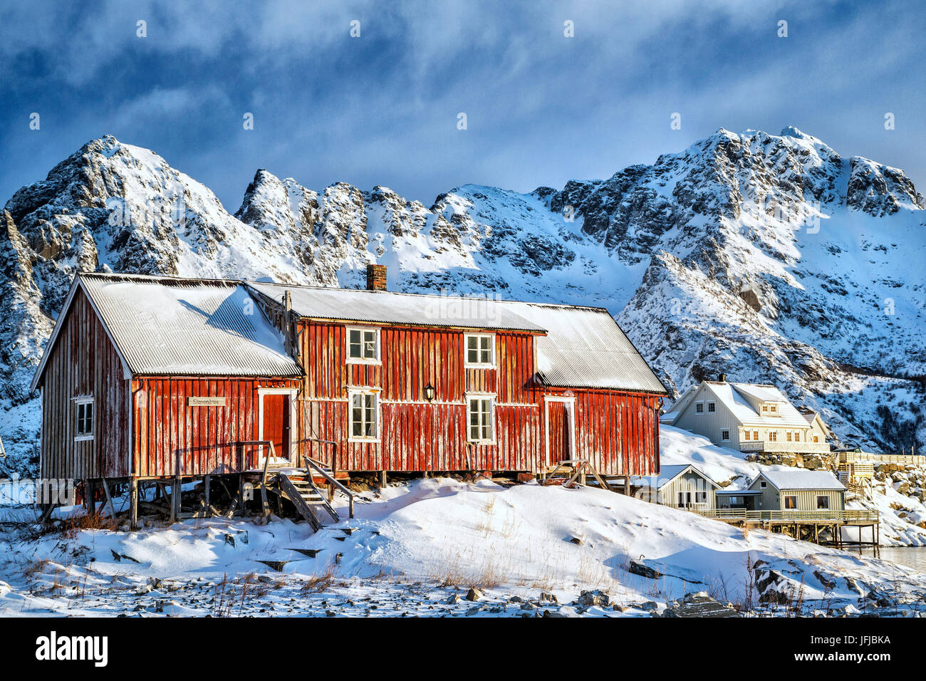 Typical red house of Lofoten Islands, Henningsvaer, Norway, Europe - Stock Image