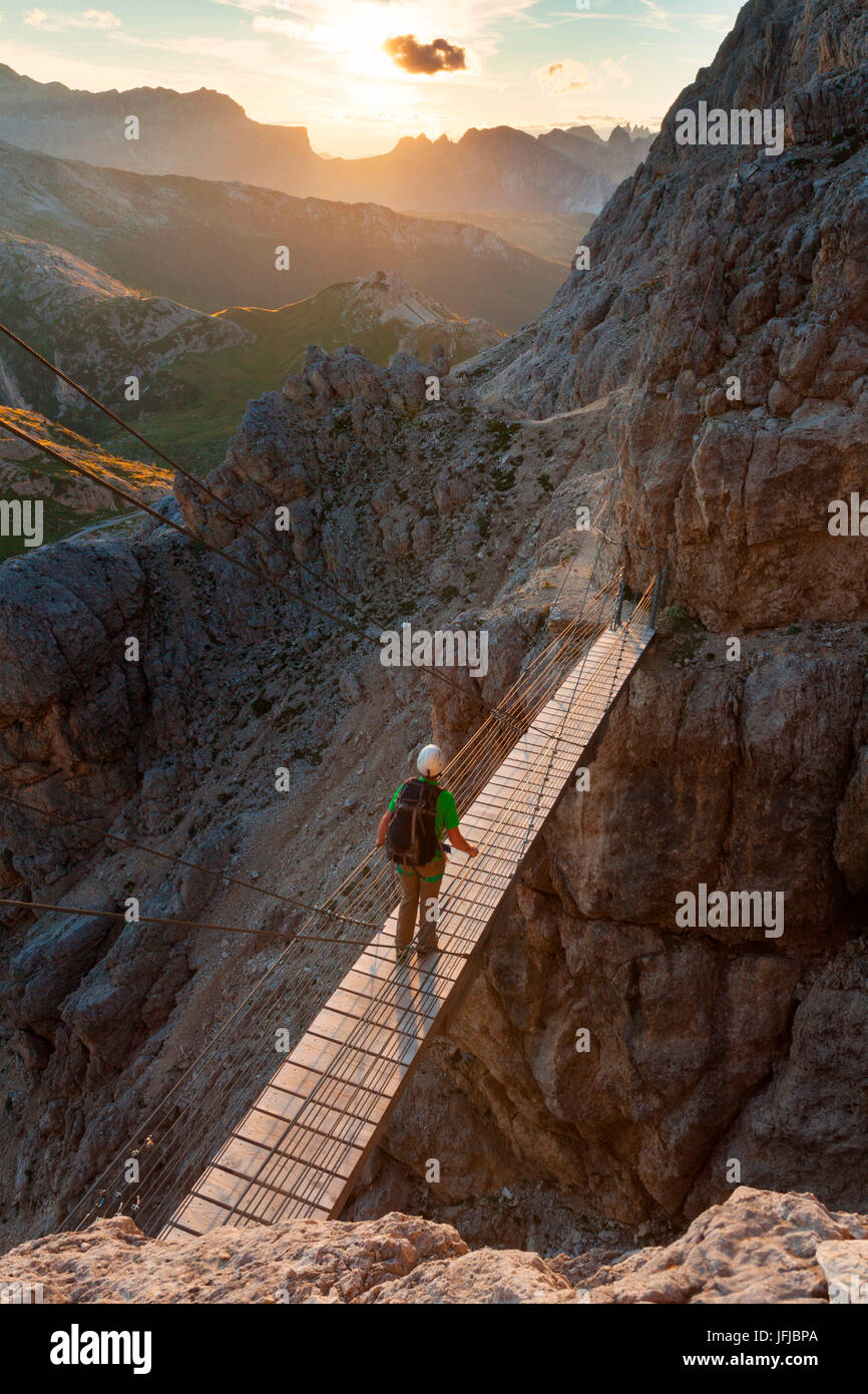 Walking the path of Kaiserjaeger you reach a secured walking section and a suspension bridge with steel cables 15 Stock Photo